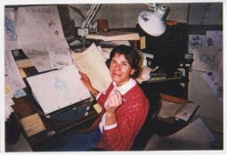 Ellen Woodbury at animation desk