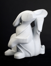 Spiral Bunny, sculpture by Ellen Woodbury
