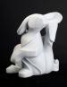 Spiral Bunny, sculpture by Ellen Woodbury