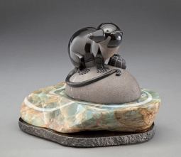 At Home with the Water Shrew, sculpture by Ellen Woodbury