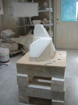 Squash and Stretch, step 2, sculpture in process by Ellen Woodbury