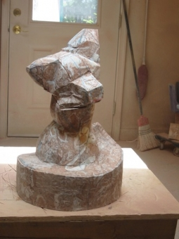 Vixen, step 3, sculpture in process by Ellen Woodbury