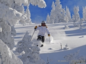 Audrey skiing