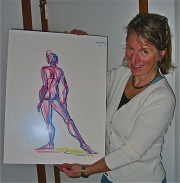 "Ellen Woodbury's patron wins raffle for pastel drawing ""Get My Point?"""
