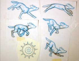 "Ellen Woodbury Creative Process: Research: ""One For All"" The separated poses and refined sun design. Each pose is one phase of one stride in the run."
