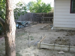 Ellen Woodbury Creative Process: Studio, Foundations, Enlarging the patio and the beginning of the ramp.