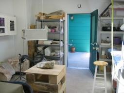 Ellen Woodbury Creative Process: Studio, carving stand, looking toward the front door.