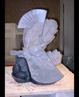 A Tree Needs a Bird, step 6, sculpture in process by Ellen Woodbury